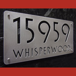 "Address Plaques - The Euro Style Deluxe Address Sign Brushed Aluminum 18"" X 9"""