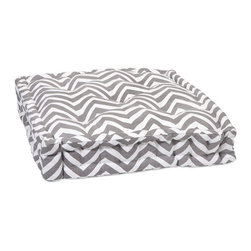 iMax - Chevron Grey Floor Cushion - This functional floor cushion features a fun grey chevron print fabric with tufted details.