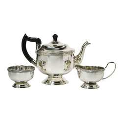 Viners of Sheffield on base - Consigned Silver Plated Tea Set Trio by Viners, Vintage English, 1930s - Elegant silver plated tea set with a teapot, sugar bowl and creamer decorated with bands of floral scroll by Viners of Sheffield; vintage English, 1930s.