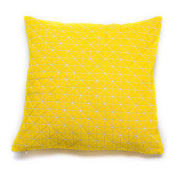 Medium Origami Throw Pillow Cover in Yellow - Here's a pillow that can launch a thousand cosmic sleeps. The cover's geometric pattern, texture, and unique three-dimensionality make it a unique surface on which to rest your head. The citrine cover is conveniently machine washable and gives your bedroom or living room throw pillow mashup a shakeup. Part of Mika Barr's 3-D textile collection, its fabric folds, fractures, and turns in all three dimensions to make a new category of design.