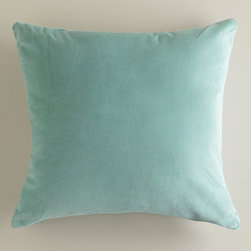 World Market - Blue Surf Velvet Throw Pillows - Our Blue Surf Velvet Throw Pillows are classic accents, designed to update any room with a plush feel in a lovely hue. Made of luxuriously soft 100% cotton velvet, they're an affordable way to add a splash of color to your décor.