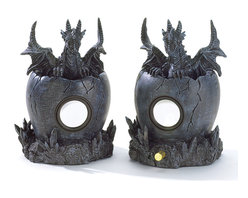 "Koehler Home Decor - Koehler Home Decor Black Dragon Computer Speakers - Your favorite tunes take on a legendary sound when broadcast from these totally rockin' double-duty decorations. Sure to be the envy of everyone, this pair of imposing dragon figurines has a special secret, a high-tech speaker is hidden inside each globe-shaped pedestal. The ideal way to complete your Medieval decorating theme. Polyresin. For use with computers only. Data wire for computer connection included. Each is 10""x 5""x 7"" high.Material: Polyresin. For use with computers only. Data wire for computer connection included."