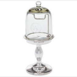 """Glass Cloche Watch/Bracelet Holder, Medium - Glass cloches, or bell jars, were created to protect seedlings or special flowers from adverse elements. We created ours in the same tradition, but designed it for use as a unique jewelry display. Watch/Bracelet: 4.5"""" diameter, 6"""" high Necklace: 8.5"""" diameter, 17"""" high Ring: 4.5"""" diameter, 9.5"""" high Aluminum and brass base with an antique-silver finish, blown-glass cloches. Monogramming is available at an additional charge. Monogram will be centered on the side of the glass cloche. Catalog / Internet Only."""