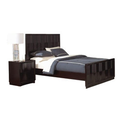 Coaster - Coaster Lloyd 5 Piece Bedroom Set in Dark Cappuccino Finish - Coaster - Bedroom Sets - 202641XXPKG3 - Coaster Lloyd 2 Drawer Nightstand in Dark Cappuccino Finish (included quantity: 1) Accent your chic, modern bedroom with the striking style of this wave-front nightstand. Adorned with a sinuously-curved wave moulding, subtle beveled edges and a plinth base, this piece exudes contemporary cool. Two drawers provide space for storing all manner of bedroom necessities, while the top of the case is an excellent table for an alarm clock or eye-catching bedside lamp.