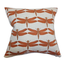 """The Pillow Collection - Nkan Dragonfly Pillow Persimmon 18"""" x 18"""" - Bring a pop of color to your bedroom or living room by adding this bold and fresh throw pillow. This accent pillow is a definite highlight in any room with its unconventional dragonfly print pattern. This contemporary pillow features a striking color palette: Persimmon red and white. This nature-inspired decor pillow is a stellar addition to your collection of home accessories. This 18"""" pillow is made from a blend of two fabrics: 95% cotton and 5% linen. Hidden zipper closure for easy cover removal.  Knife edge finish on all four sides.  Reversible pillow with the same fabric on the back side.  Spot cleaning suggested."""