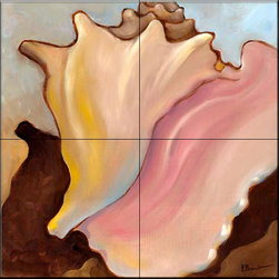 The Tile Mural Store (USA) - Tile Mural - Conch 1  - Kitchen Backsplash Ideas - This beautiful artwork by Paul Brent has been digitally reproduced for tiles and depicts a conch.    Tile murals with shells and decorative shell tiles are timeless and are excellent to add to your kitchen backsplash tile project or your tub and shower surround bathroom tile project. Images of sea shells on tiles add a unique element to your tiling project and are a great kitchen backsplash idea for a coastal home. Use a shell tile mural for a wall tile project in any room in your home where you want to add interest to a plain field of wall tile. Bathrooms always look best with the addition of decorative wall tiles so why not add decorative tiles with images of shells?
