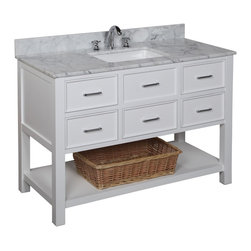 Kitchen Bath Collection - New Hampshire 48-in Bath Vanity (Carrara/White) - This bathroom vanity set by Kitchen Bath Collection includes a white cabinet with soft close drawers, Italian Carrara marble countertop, single undermount ceramic sink, pop-up drain, and P-trap. Order now and we will include the pictured three-hole faucet and a matching backsplash as a free gift! All vanities come fully assembled by the manufacturer, with countertop & sink pre-installed.