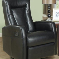 Monarch Specialties - Swivel Glider Recliner - (Red) - Choose Upholstery: RedRocking recliner. Padded head rest for ultimate comfort. Easy glide motion. Contemporary design. Warranty: One year manufacturers. Assembly required. 36 in. W x 30 in. D x 40 in. H (88 lbs.)This contemporary design accent chair combines three functional elements, ensuring that you are always in a comfortable position. Whether reading a book or watching sports this will be the chair that everyone will want to sit on. The Contemporary design makes it a chic and fashionable addition for your den, bedroom, living room or basement. It truly is a chair for any room in your home.