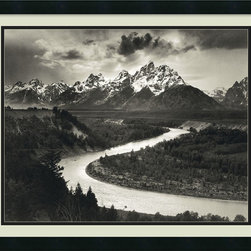 Amanti Art - 'The Tetons and the Snake River, Grand Teton National Park, 1942' Framed Print - Ansel Adams took this magnificent shot as part of a project commissioned by the Dept. of Interior in the '40s. The signed original is kept at the National Archive of the National Park Service, but this custom framed print can be all yours.