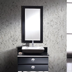 """Moselle 36 Modern Glass Bathroom Vanity With Mirror - The Moselle vanity is the epitome of luxury.  This high quality vanity has a steel frame construction with a tempered glass exterior.  The interior drawers are made from Ebony Macassar which gives it a classic, high end look.  Many faucet styles to choose from.Dimensions of Vanity:  35.63""""W x 18""""D x 34""""H. Dimensions of Mirror:  24.5""""W x 44.5""""H. Materials:  Steel Frame, Tempered Glass Countertop, Ceramic Sink, Ebony Macassar Veneer Drawers. Single Hole Faucet Mount (Faucet Shown In Picture May No Longer Be Available So Please Check Compatible Faucet List). P-trap, Faucet, Pop-Up Drain and Installation Hardware Included"""