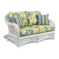 WickerParadise - White Wicker Loveseat - Lanai - Sink into this super comfortable loveseat and while away the afternoon with a glass of lemonade or a margarita and your favorite Jimmy Buffet CD. Its strength and durability combined with comfort and beauty will grace your home for years and years.