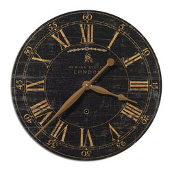 "Uttermost - Uttermost Bond Street 18"" Black Wall Clock 06029 - Laminated clock face with a weathered, crackled look. Requires 1-AA battery."