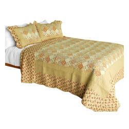 Blancho Bedding - Harvest Season Cotton 3PC Vermicelli-Quilted Patchwork Quilt Set  Full/Queen - Set includes a quilt and two quilted shams (one in twin set). Shell and fill are 100% cotton. For convenience, all bedding components are machine washable on cold in the gentle cycle and can be dried on low heat and will last you years. Intricate vermicelli quilting provides a rich surface texture. This vermicelli-quilted quilt set will refresh your bedroom decor instantly, create a cozy and inviting atmosphere and is sure to transform the look of your bedroom or guest room. Dimensions: Full/Queen quilt: 90 inches x 98 inches  Standard sham: 20 inches x 26 inches.