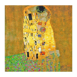 Oriental Furniture - Works of Klimt Canvas Wall Art - The Kiss - One of Austrian Symbolist artist Gustav Klimt's most recognizable pieces. A bright, busy mixture of shape and color surrounding a man and a woman. Faithfully reproduced with modern ink jet print technology on primed art-quality canvas and mounted on a Spruce wood frame.