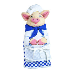 Boston Warehouse - Chef Pig Quilted Cotton Oven Mitt - Add a touch of whimsy to your kitchen with the Chef Pig oven mitt. This high-quality quilted cotton oven mitt highlights a charming animal design,and measures 13 inches long.