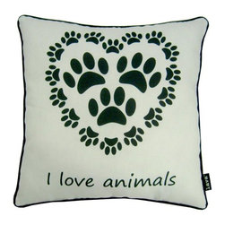 Love Animals 18X18 Pillow (Indoor/Outdoor) - 100% polyester cover and fill.  Suitable for use indoors or out.  Made in USA.  Spot Clean only