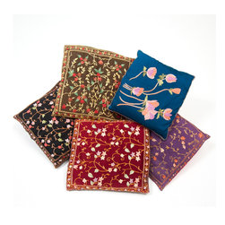 Sitara Collections - Pillow Cushion Covers from Kashmir with All-Over Ari Embroidery (Set of 5) - Colorful eastern influence imbues these pillow covers with a gorgeous sense of color and pattern. Handmade durable cotton cushion pillow covers using all Natural Dyes. Comfort is the ultimate luxury, and these gorgeous throw pillow cushion covers beautifully testify to that. Rendered in durable cotton, then embellished with all over hand embroidery, these pillows are an effortless way to refresh and reinvigorate your decor.