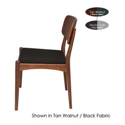 Hendrick Dining Chair, Ebony Oak with Grey Fabric, Set of 2