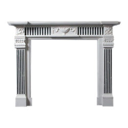 Marble Fireplaces Mantels - White and black marble fireplace mantel carved in the Georgian style. Great for a formal office or media room in your home. The surround has fluted pilasters.