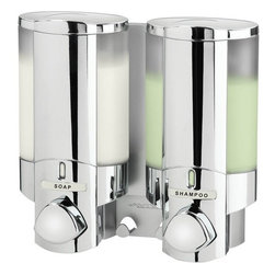 Better Living - AVIVA 2-Shower Dispenser, Chrome - These Aviva series dispensers' collections are a beautiful solution to the little problem of uneven clutter of bottles in the bathroom. The dispenser is available in either satin silver or chrome. The Aviva series soap and shower dispensers are easy to set up and are a must have for a fresh environment and easy living.