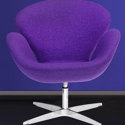 Fine Mod Imports - Swivel Swan Chair in Purple - Contemporary style. Aluminum base. Molded fiber glass frame. Fire retardant polyurethane foam padding. Covered with wool fabric. Warranty: One year. Assembly required. 28 in. L x 27 in. W x 32 in. H (35 lbs.)