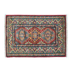 1800-Get-A-Rug - Geometric Mat Hand Knotted Rug Fine Kazak Oriental Rug Sh11451 - About Tribal & Geometric
