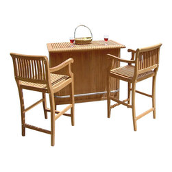 Teak Daels - Giva 3 Piece Bar Set - Bar Cabinet With 2 Bar Arm Chairs - The bottom storage cupboard includes racks for hanging stemmed drinkware. Sliding door provided to keep your glassware protected.