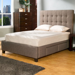 """Casual Elegance - Manhattan Storage Platform Bed - The Manhattan Storage bed, constructed and designed by furniture makers, is a premium platform bed with upholstered headboard with storage. The Manhattan provides four over sized full-extension drawers that may be used to accommodate items such as memorabilia, keepsakes, photo albums, linens, clothes, shoes, and other valuables. We all need more storage. Features: -Premium drawer construction. -4 Drawers. -Anti jam drawer shield. -Touch latch drawer openers. -Full extension ball bearing drawer glides. Dimensions: -Queen: 58"""" H x 74.5"""" W x 94"""" D, 264 lbs. -King: 58"""" H x 62.5"""" W x 90"""" D, 281 lbs. -California King: 58"""" H x 80.5"""" W x 90"""" D, 274 lbs."""