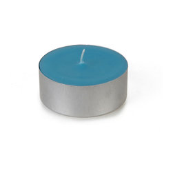 "Jeco - Mega Oversized Turquoise Tealights-12pc/Box - When quality and value is essential for weddings, our 10 hr unscented tealight candles will suit all your needs for that very special day. The 10 hr mega tealight is larger in diameter than the standard tealight. Paired together with some of our glass mega tealight candle holders will create a beautiful candlelight glow for the wedding reception. PLEASE NOTE: Actual color may differ from the color shown in the image(s) due to monitor displays.; Features: Color: Turquoise; 100% Handpoured; Extra Long Burn Oversize Mega Tealights; Prices are per box of 12 candles; Size: 2.25"" Diameter x 1"" H; Burn Time: 10 Hours; Tin cups"