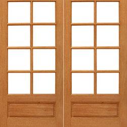 """8-lite Interior Brazilian Mahogany 1 Panel IG Glass Double Door - SKU#8-lite-P/B-2BrandAAWDoor TypeInteriorManufacturer CollectionInterior French DoorsDoor ModelDoor MaterialWoodWoodgrainMahoganyVeneerPrice740Door Size Options2(14"""") x 80"""" (2'-4"""" x 6'-8"""")  $02(24"""") x 80"""" (4'-0"""" x 6'-8"""")  +$1802(30"""") x 80"""" (5'-0"""" x 6'-8"""")  +$1802(32"""") x 80"""" (5'-4"""" x 6'-8"""")  +$1802(36"""") x 80"""" (6'-0"""" x 6'-8"""")  +$200Core TypeSolidDoor StyleDoor Lite Style3/4 Lite , 8 LiteDoor Panel Style1 Panel , Ovolo StickingHome Style MatchingCraftsman , Colonial , Cape Cod , VictorianDoor ConstructionEngineered Stiles and RailsPrehanging OptionsPrehung , SlabPrehung ConfigurationDouble DoorDoor Thickness (Inches)1.75Glass Thickness (Inches)1/2Glass TypeDouble GlazedGlass CamingGlass FeaturesInsulated , Tempered , low-E , Beveled , DualGlass StyleClear , White LaminatedGlass TextureClear , White LaminatedGlass ObscurityNo Obscurity , High ObscurityDoor FeaturesDoor ApprovalsFSCDoor FinishesDoor AccessoriesWeight (lbs)680Crating Size25"""" (w)x 108"""" (l)x 52"""" (h)Lead TimeSlab Doors: 7 daysPrehung:14 daysPrefinished, PreHung:21 daysWarranty1 Year Limited Manufacturer WarrantyHere you can download warranty PDF document."""