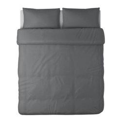 BLÅSIPPA Duvet cover and pillowcase(s) - Duvet cover and pillowcase(s), dark gray