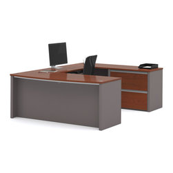 Bestar - Bestar Connexion Bordeaux & Slate 71 x 93 U-Shaped Workstation Desk - The desk is made of durable 1 inch commercial grade work surface with melamine finish that resist scratches stains and wears. It features an impact resistant 0.25 cm PVC edge. Grommets are available on the station for efficient wire management. The executive desk the credenza the hutch and the bridge meet or exceed ANSI/BIFMA performance standards. The oversized pedestal offers two file drawers with letter/legal filing system. The drawers are on ball-bearing slides and the keyboard drawer features double-extension slides for a smooth and quiet operation. The station is fully reversible. Also available in Slate and Sandstone finish. Connexion is a contemporary and durable collection that features a wide variety of configuration options that will adapt to your specific needs.Nowadays performance productivity and quality of life are fundamental to achieving our personal and professional goals. Bestar's home and office furniture design is based upon these criteria as well as on today's reality. On average we spend about 40 hours a week at work (home or office) which represents a large portion of our time. Various factors have a direct impact on our well-being at work: an important concern in the current employment environment continually changing and at an ever-increasing pace. Therefore organizing your space is certainly a parameter to consider. Features include Strong and large work surface Plenty of room to organize your documents Multiple configuration options. Specifications Finish/color: Bordeaux & Slate.