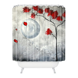 DENY Designs - madart inc Far Side Of The Moon Shower Curtain - Who says bathrooms can't be fun? To get the most bang for your buck, start with an artistic, inventive shower curtain. We've got endless options that will really make your bathroom pop. Heck, your guests may start spending a little extra time in there because of it!