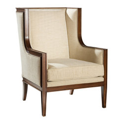 "Kathy Kuo Home - Gaston Hollywood Regency Walnut Wing Back Accent Chair - Generous proportions and exquisite upholstered details create a relaxed elegance perfect for fans of French style, be they city or country dwellers.  This piece practically begs you to come relax with a good book, perhaps ""A Year in Provence?""  Sit back and relax, this piece is protected by a one year warranty."
