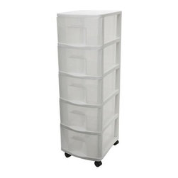 Home Products - Medium 5 Drawer Cart by HOMZ - Our HOMZ Medium Five Drawer Card is ideal for general storage throughout the home. The clear drawers make it easy for you to view the contents.