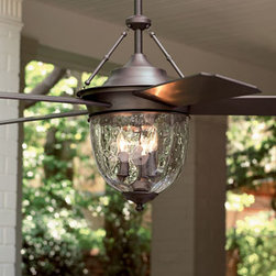 """Horchow - Bronze Outdoor Ceiling Fan - Outdoor living spaces are a bit more comfortable with this fan around. Made of metal and plastic with a bronze finish, it's designed to withstand conditions in covered outdoor areas. 52""""Dia. blade sweep. 26.5""""T. The glass globe shades three 40-watt cand..."""