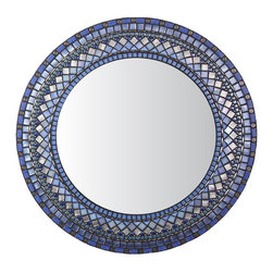 """Heirloom Collection Mosaic Mirrors - Custom round mosaic mirror in blue, periwinkle, silver, and nickel color scheme.  Materials used include stained glass, nickel metal beads, and five different varieties of glass mosaic tile.  Custom sizes and color schemes available; pricing varies upon size.  Price listed is for 30"""" diameter frame."""