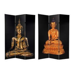 Oriental Unlimited - 3-Panel Contemporary Double Sided Thai Buddha - One double-sided divider, both sides shown in image. Well built folding floor screen. Light and portable. Beautifully printed with high quality commercial grade ink creating stunning and bright images. Wonderful photographic images of classic Burmese style Buddha statues. Simple Black backgrounds. Entirely opaque, light can't pass through the double layer of printed canvas. A great room divider, privacy screen, decorative background and even portable window blind. Made from sturdy wood frames and covered with quality poly-cotton blend canvas. Each panel: 15.75 in. W x 70.88 in. H. Base weight: 8.25 lbs.