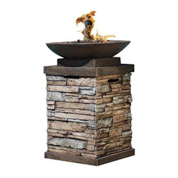 None - Newcastle Gas Firebowl - Whether creating a romantic setting or a cozy and comfortable place for friends and family to gather, the warmth of this open firebowl will add hours of pleasure to your outdoor setting. This firebowl features a beautiful Envirostone construction.