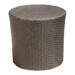 Great Deal Furniture - Overton Outdoor Grey Wicker Barrel Side Table, Dark Grey - The Overton outdoor wicker side table is stylish and convenient for your outdoor needs. With its contemporary shape, you can place it near your seating area to place snacks and beverages, or even use it as a stand for your garden. Made of environment-friendly synthetic wicker- you will find many uses for this table.