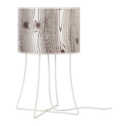 Lights Up! - Virgil Table Lamp -White Powder Coat Base, Faux Bois Light - Take your pick for this leggy table lamp — a playful pattern or a simply chic solid. Designed by Rachel Simon, it brings light and easy elegance to your favorite setting.