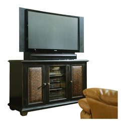 Hooker Furniture - Hooker Furniture Telluride Plasma Console in Black w/ Leather Panels - Hooker Furniture - TV Stands - 37055457 - The Telluride collection of entertainment consoles uses unique design cues and traditional styling to create this one-of-a-kind pieces. This entertainment console features carved leather doors with nail head trim that are set in wood framed doors and are accented with brushed metal door pulls. The unit also features adjustable shelving and a central glass door for easy point-and-click from your remote to the audio visual consoles. The console is finished in a painted black with rub-through and some physical distressing.       Features: