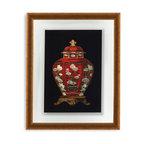 Bassett Mirror - Bassett Mirror Framed Under Glass Art, Red Porcelain Vase I - Red Porcelain Vase I