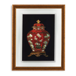 Bassett Mirror - Bassett Mirror Framed Under Glass Art, Red Porcelain Vase I - Red Porcelain Vase I