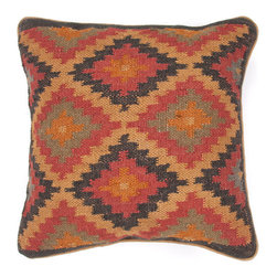 Jaipur Rugs - Bedouin Kalahari Pillows, Set of 2 - If you love vintage kilims, this wool and jute pillow provides the same eclectic look. You can create a well-traveled feel in a living or media room by incorporating a few of these.