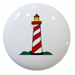 Carolina Hardware and Decor, LLC - Red Lighthouse Nautical Ceramic Knob - New 1 1/2 inch ceramic cabinet, drawer, or furniture knob with mounting hardware included. Also works great in a bathroom or on bi-fold closet doors (may require longer screws).  Item can be wiped clean with a soft damp cloth.  Great addition and nice finishing touch to any room.  Made in China.