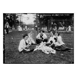 Women, Midsummer Day, Bronx Park Print - Midsummer Day, Bronx Park photographed by the Bain News Service around 1910 on 5x7 glass plate negative.