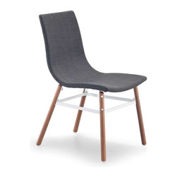 Zuo Modern - Zuo Modern Stavanger Chair, Graphite Fabric, Set of 4 - The Stavanger Chair has simple, mid-Century lines. The straightforward base is solid wood and powder covered metal. Pick black or white or tobacco, tangerine, graphite or pea fabric.