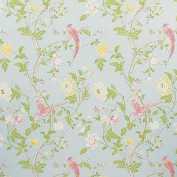 Summer Palace Wallpaper, Duck Egg - When I think of Laura Ashley, I immediately think of my floral comforter and wallpaper from the '80s. Wallpaper is back in a big way this season, and Laura Ashley still offers some great floral patterns.