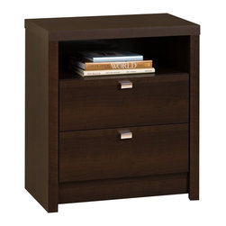 Prepac Furniture - Prepac Espresso Series 9 Designer Tall 2 Drawer Nightstand - The nightstand with 28 inches tall has the ideal height for taller beds with pillow top mattresses. This Prepac Espresso Series 9 Designer Tall 2 Drawer Nightstand adds style to your bedroom and functionality with two smooth sliding drawers for out-of-sight storage. Finished in a durable rich espresso laminate, nightstand has rectangular chrome-finished metal drawer pulls. The convenient open shelf for additional storage is the perfect spot for your favorite books and magazines.    Features: